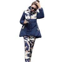 a8af03fb76276 Women Winter Down Cotton Jacket Suit Female Fashion Hooded Warm Camouflage  Two Piece Set Print Thicken
