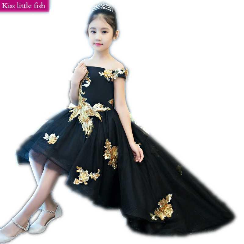 Бесплатная доставка, черные длинные платья с хвостом для девочек 2019, пышные платья для девочек, торжественное платье для девочек