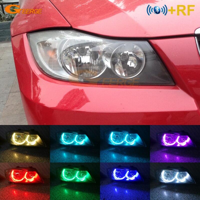 For BMW E90 E91 330i 325i 328i 335i 2005-2008 Halogen headlight RF Bluetooth Control Multi-Color C-Shape Style RGB led angel eye