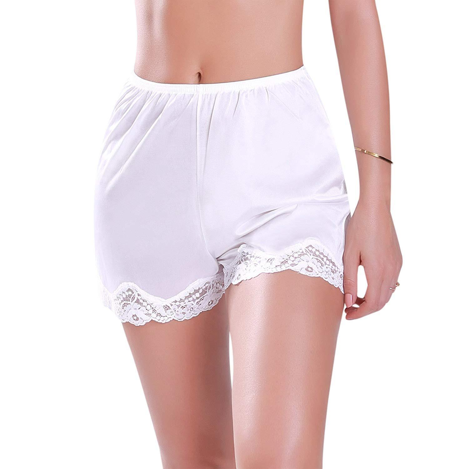 2018 NEW Women's Premium Nylon Daywear Bloomer Slip Shorts With Lace Trim M-XXXL