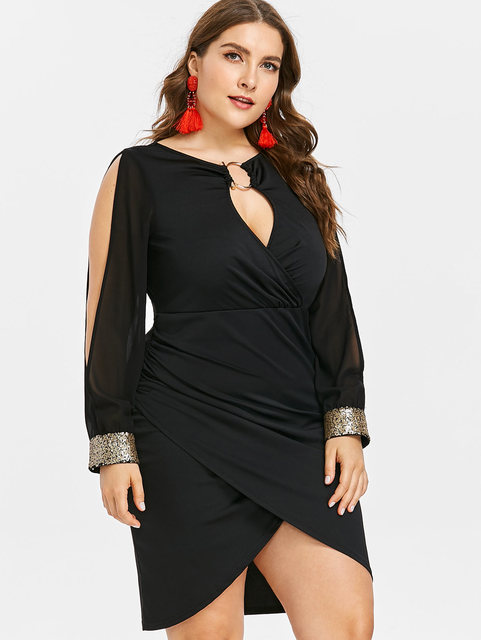 Wipalo Slit Sleeve Plus Size O-Ring Sequin Embellished Bodycon Dress  Elegant Solid Slip Front 1dbed2a82706