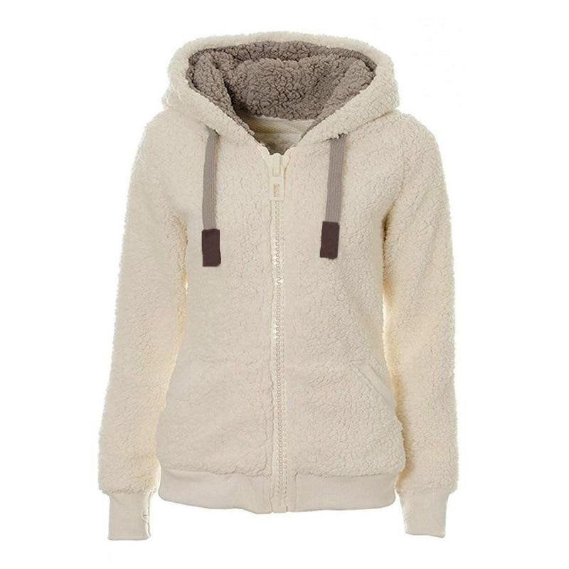 Winter Fleece Sweater Fluffy Thick Hooded Warm Zipper Cardigan Women Winter Coat Sherpa Tops Cardigan Sweaters