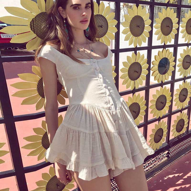 Sexy Chic Hippie Mini Summer Dress 2019 Cotton Pleated Vintage Boho Beach Dress Women Button Strapless Party Dresses Vestidos outfits para playa mujer 2019