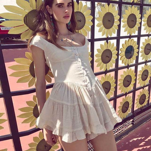 c299e398e7 Sexy Chic Hippie Mini Summer Dress 2019 Cotton Pleated Vintage Boho Beach  Dress Women Button Strapless Party Dresses Vestidos