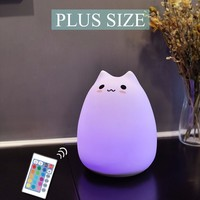 Cute Cartoon Cat Led Night Light Plus Size 3D Animal Luminaire Nightlight For Children Beside Lamp 7 Color Changed Night Lights
