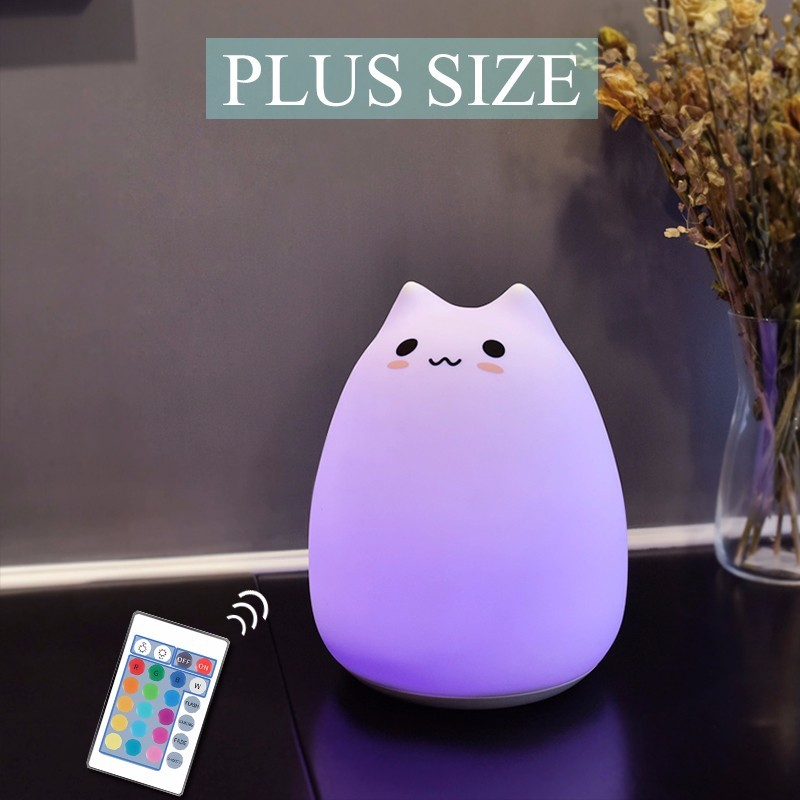 Cute Cartoon Cat Led Night Light Plus Size 3D Animal Luminaire Nightlight For Children Beside Lamp 7 Color Changed Night Lights