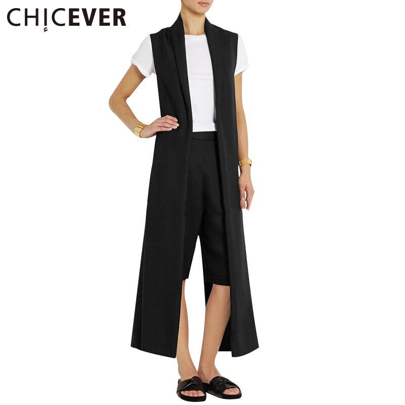 CHICEVER 2019 Autumn Plus Size Waistcoat For Women Female Vest Back Split Sexy Cardigan Black Long