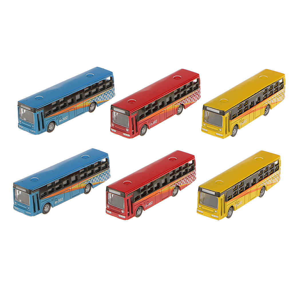 6pcs N Gauge 1:160 Scale Painted Model Bus For Parking Scenery Train Layout