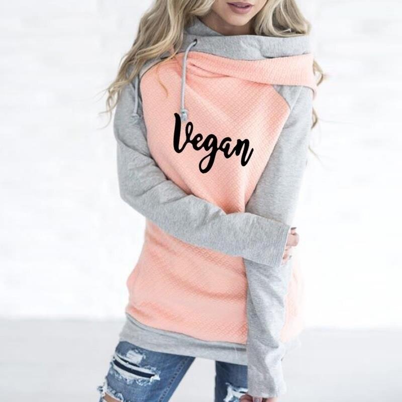 2019 New Fashion vegan forever Kawaii Tops Sweatshirt Femmes Hoodies Women Clothings Funny Loose Cropped Harajuku