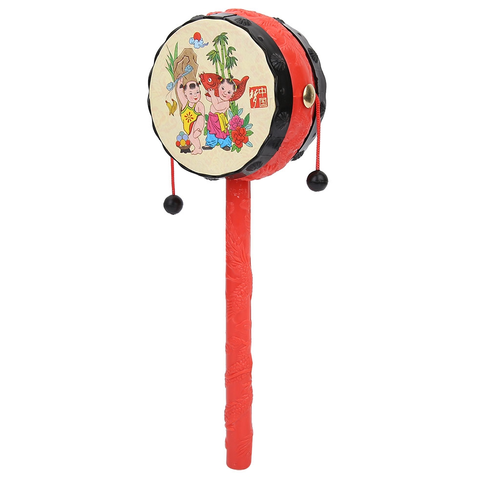 Chinese Traditional Rattle Drums Classic Cartoon Baby Toys Educational Musical Instrument Baby's First Birthday Gift Rattle Drum