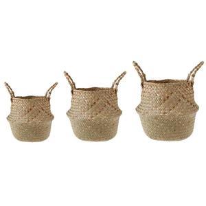 Image 3 - Foldable Storage Basket Creative Natural Seagrass Rattan Straw Wicker Folding Flower Pot Baskets Garden Planter Laundry Supplier
