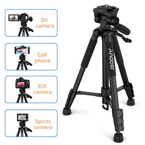 Image 3 - Andoer 2 Choice 57.5inch Travel Lightweight Camera Tripod for Video Shooting DSLR SLR Camcorder with Carry Bag Phone Clamp