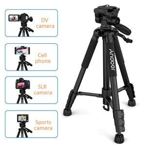 Image 3 - Andoer 2 choice 비디오 촬영을위한 57.5 인치 여행용 경량 카메라 삼각대 캐리 백 전화 클램프가있는 dslr slr 캠코더