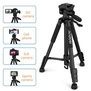 Image 3 - Andoer trípode ligero de viaje para cámara, 2 opciones, 57,5 pulgadas, para Grabación de Vídeo, DSLR, videocámara SLR, con bolsa de transporte, abrazadera para teléfono
