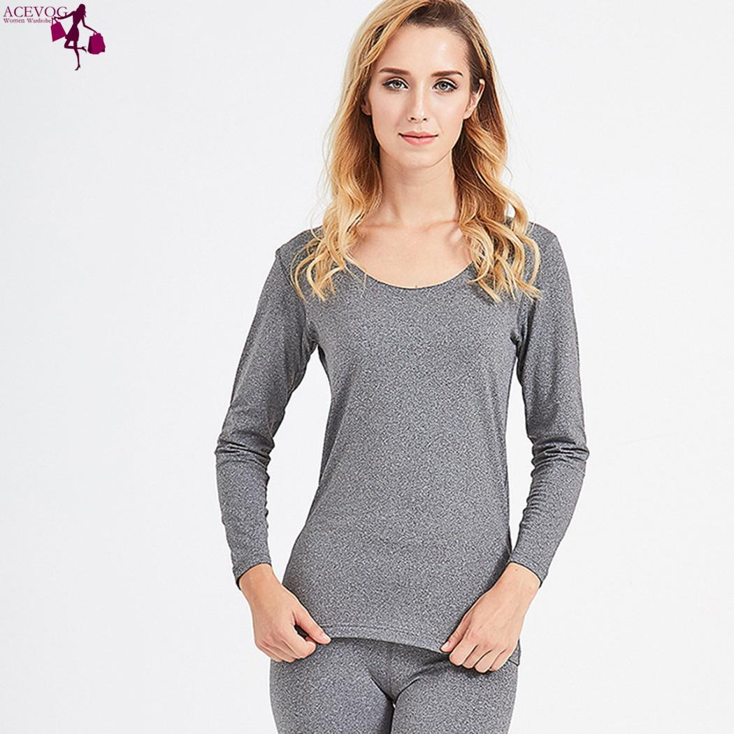 Two Long Sleeve Solid Slim Soft Casual Winter Pieces Thermal Women V-Neck Underwear Set
