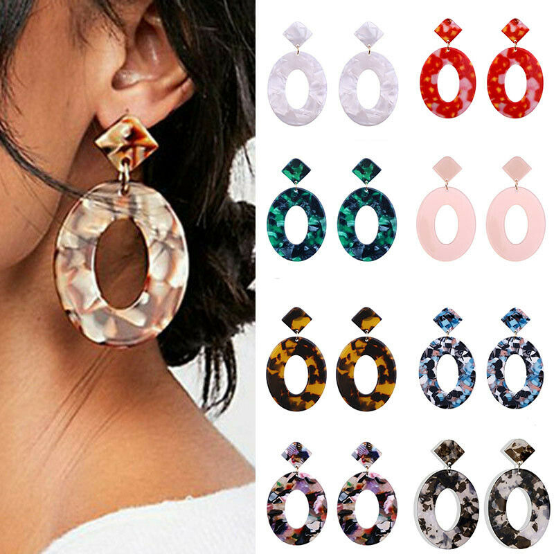 Earrings Pendant Resin Oval New Acrylic 2019 Geometric Round Tortoise Earrings