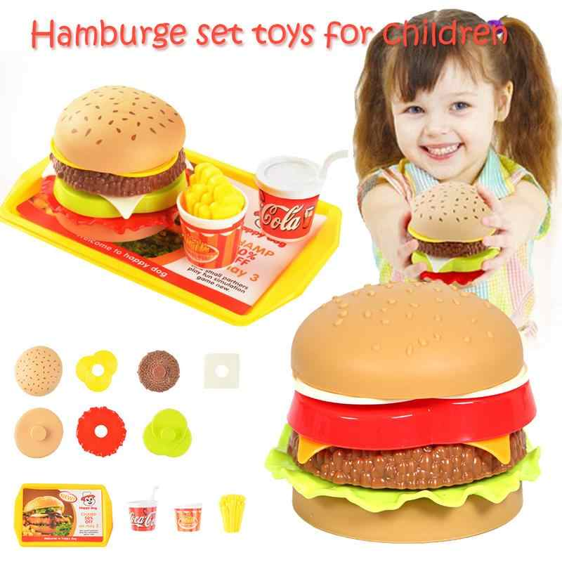 Baby Toys Pretend Hamburger Toys Children's Play House Toy Simulation Food Assembled Hamburger Figure Model Educational Toys