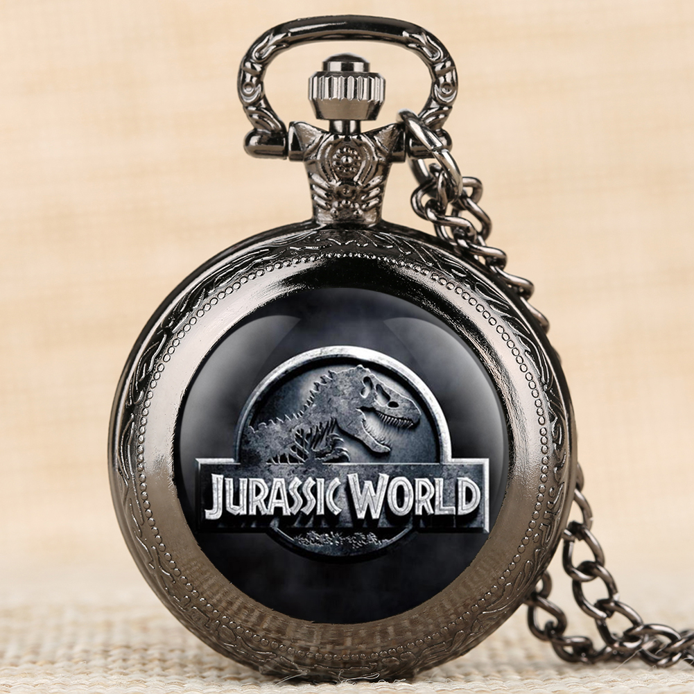 Jurassic World Quartz Pocket Watches Dinosaur Pattern Fob Watches 4 Color Necklace Chain Pendant Clock Top Gifts For Boys Girls