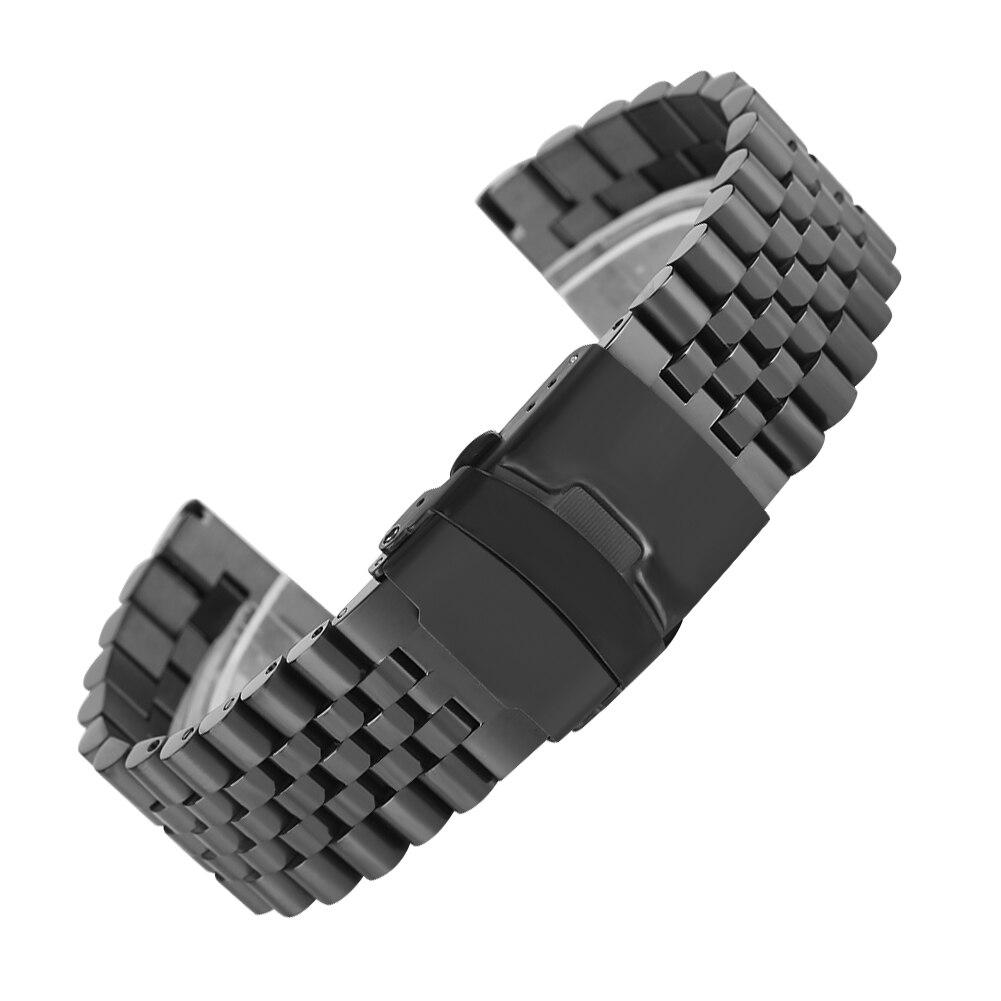 24 MM Argent/Noir/Or/Or Rose Solide acier inoxydable bracelets de montre fermoir pliant avec montre de sécurité Remplacement bracelet de poignet
