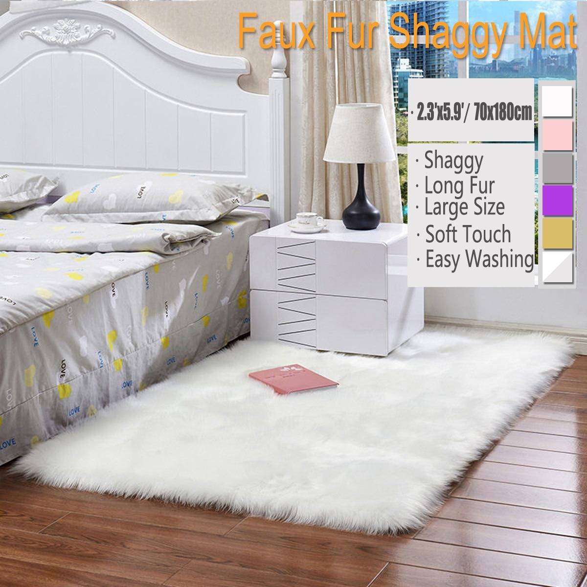 Us 30 71 52 Off 70 180cm Wool Imitation Sheepskin Rugs Faux Fur Non Slip Bedroom Shaggy Carpet Living Room Mats Round Rug Bedroom Faux Mat In Carpet