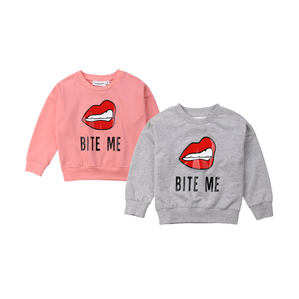 a49b4c338 Pudcoco 2019 Spring Bite Me Baby Boy Girl Cotton T-shirt Top Long Sleeves  Sweater