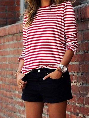 Lâche Femmes Tops Longues Blanc M Chemises Rouge Coton Rayé À Chemise Pulls Casual Manches zUg4wdgq
