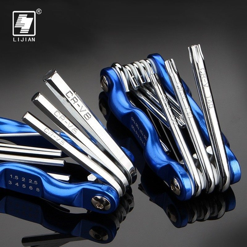 8pcs Portable Foldable Key Hex Wrench Set Metric System Inner Hexagon Spanner Allen Wrench Screw Repair Tools
