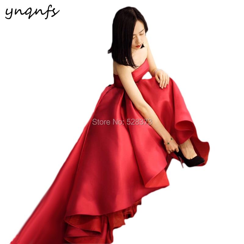 YNQNFS W108 Vintage Red vestido de noiva curto Satin 2019 Bridesmaid Dresses High Low Wedding Bridal Dress Party Gown