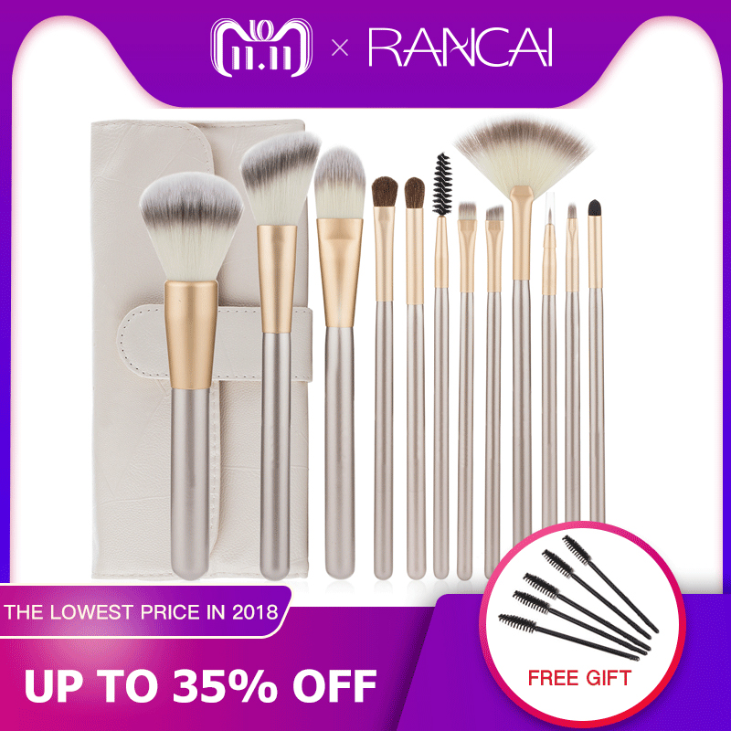 цены Professional 12pcs Makeup Brushes Set Foundation Powder Blush Eyeshadow Sponge Brush Soft Hair Cosmetic Tools with Leather Bag