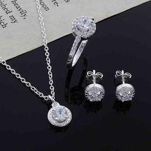 14K White Gold 925 sliver Necklace Ring Jewelry Earrings Set Three-piece topaz Bizuteria Gemstone Pendant Stud Garnet Earring 4 mm round pink topaz stud earrings in 14k white gold