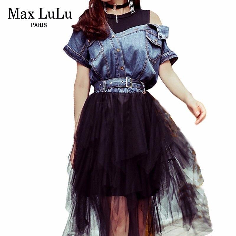 Max LuLu 2019 printemps mode coréenne Style dames Denim vêtements femmes Sexy dentelle robes hors épaule robes robe de soirée noire