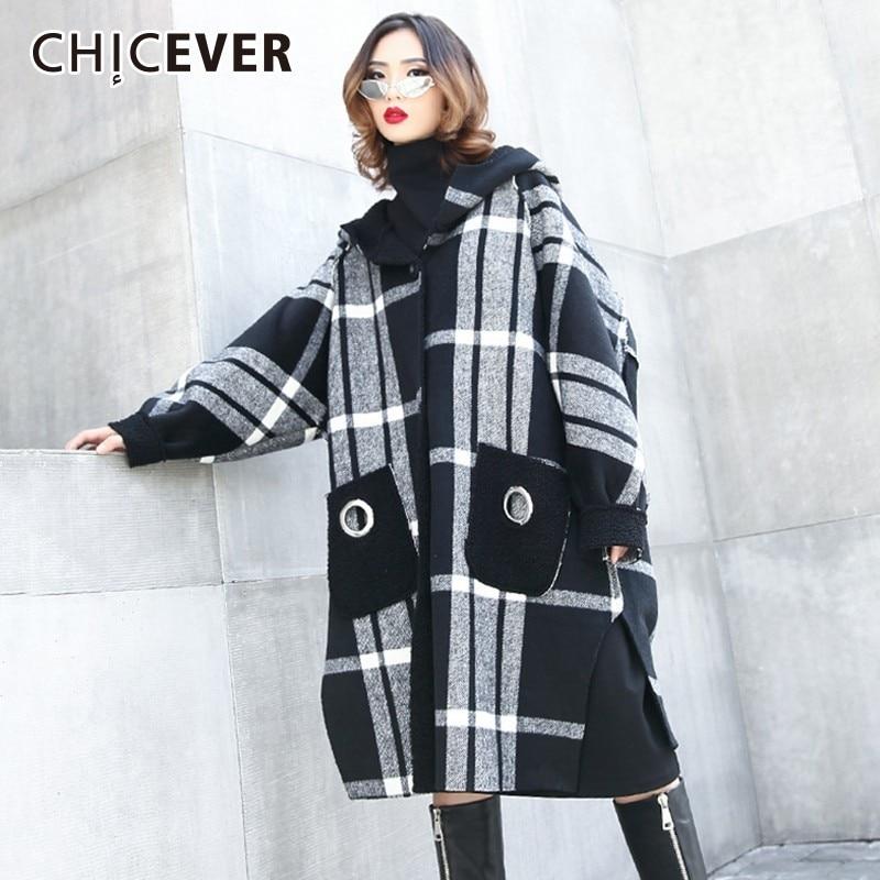 CHICEVER 2019 Autumn Winter Plaid Women s Coats Hooded Long Sleeve Hit Colors Oversize Coat Female