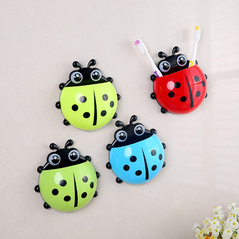 Ladybug Sucker Children Kids Toothbrush Holder Suction Hooks Toothbrush Wall Suction Bathroom Sets image