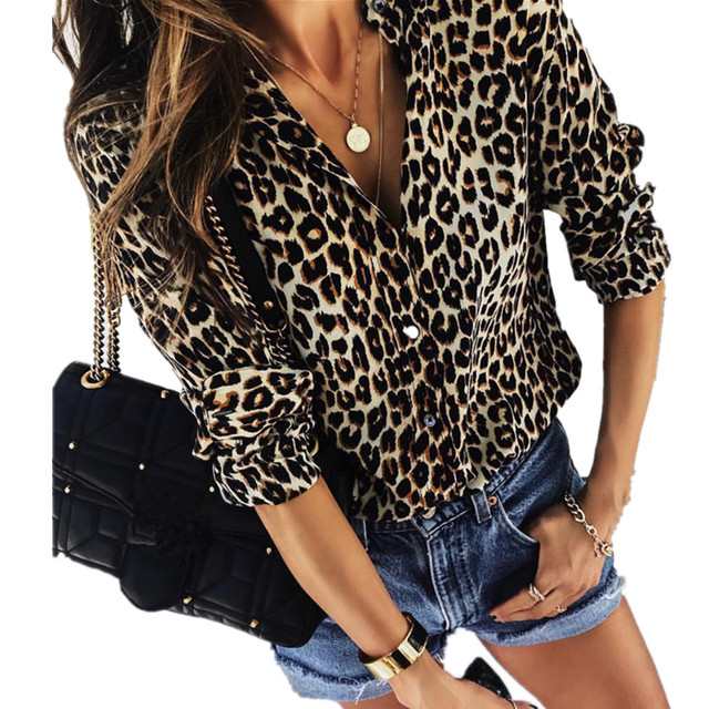6a00474574 2018 Autumn Women Elegant Fashion Loose Holiday Party Blouse Ladies Long  Sleeve Leopard Print Casual Shirt