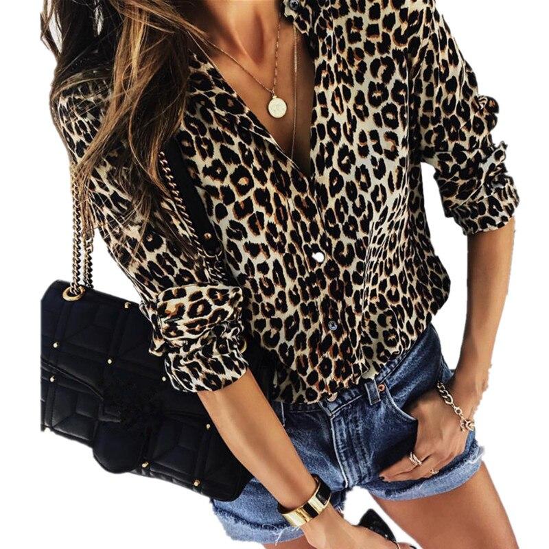 Otoño de 2018 mujeres elegante moda fiesta blusa damas de manga larga con estampado de leopardo camisa Casual