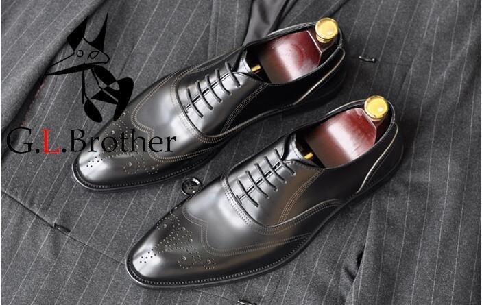Brogue Shoes Men Genuine Leather Sewing Carved Groom Wedding Derby Shoes Smart Casual Oxfords Handmade Dress Mans Brogues цена и фото