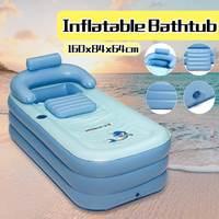 160x84x64cm PVC Folding Portable Big Inflatable Bathtub/Pools for Children Adults Bath Enjoy Life Air Pump Spa Household Bathtub