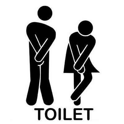 Komik Tuvalet Giriş Işareti Çıkartması vinil yapışkan Için Dükkanı Ofis Ev Cafe Otel ZYVA-341