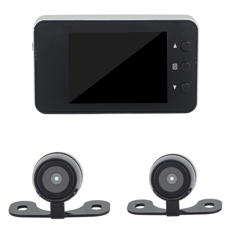 Motorcycle DVR Dash Cam Full HD 1080P + 720P Dual-track Front & Rear View Motorcycle Camera Black Recorder Box