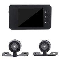 Motosiklet DVR Dash kamera Full HD 1080 P + 720 P Çift parça Ön ve Arka Görünüm Motosiklet Kamera siyah Kaydedici Kutusu