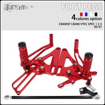 Motorbike CNC Aluminum Adjustable Footpegs Foot Pegs Footrest Pedals Rests Rear Set For HONDA CB400SF CB400 VTEC SPEC 1990-1997