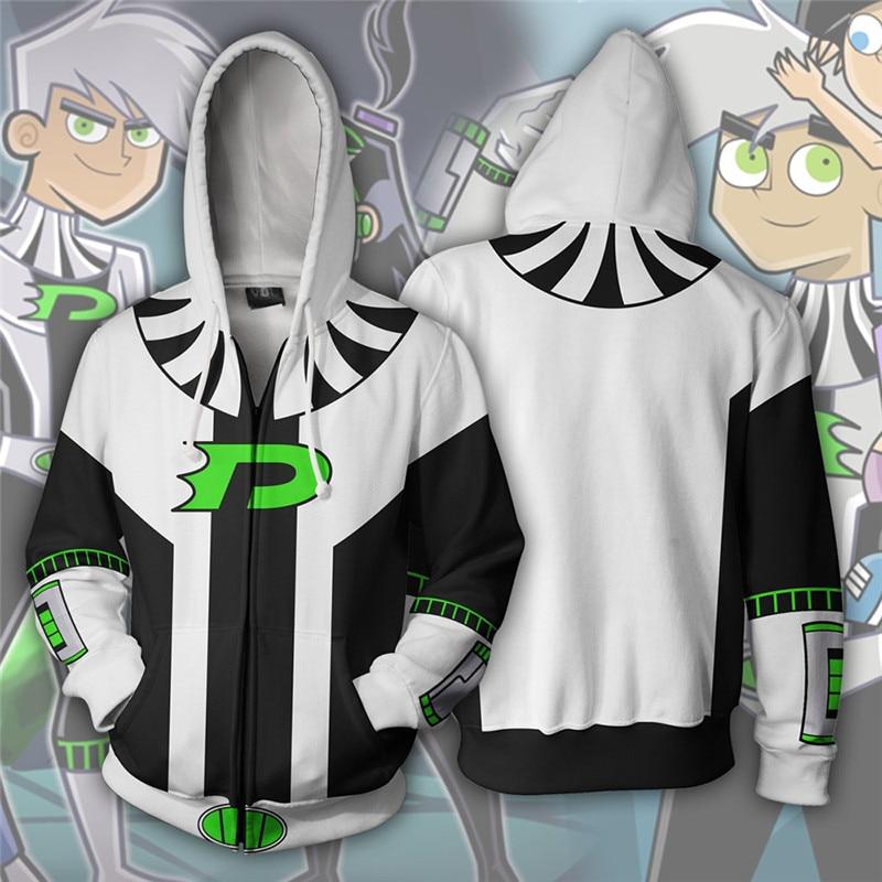Danny Phantom  Cosplay Costume Men's Sweatshirt Hooded Uniform Streetwear Women Mens Hoodies Zipper Hoddies