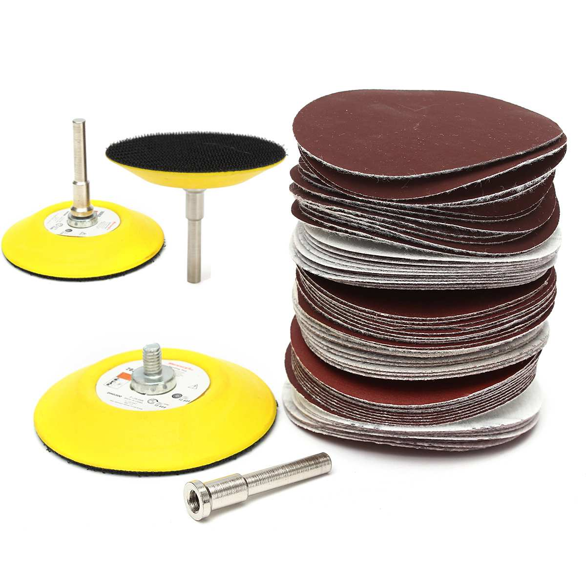 3 Inch 75mm 60PCS Sanding Pad Polishing Grit Disc Polishing Sandpaper Shank Set Power Tools Accessories Abrasive Tools Kit
