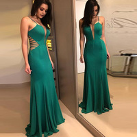 Cross Border New Style Sexy Deep V Mesh Perspective Tail Put on a Large Host Evening Gown Party Long Strap Dress