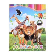 1 шт., книга-Раскраска с животными, забавные детские книги на английском языке для девочек и мальчиков, детские игрушки для рисования