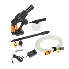 12V 0.9MPa High Pressure Car Washing Gun with Foam Pot Water Pipe Long Rod Electric Wireless Water Gun Cleaning Dirt Dust Stains