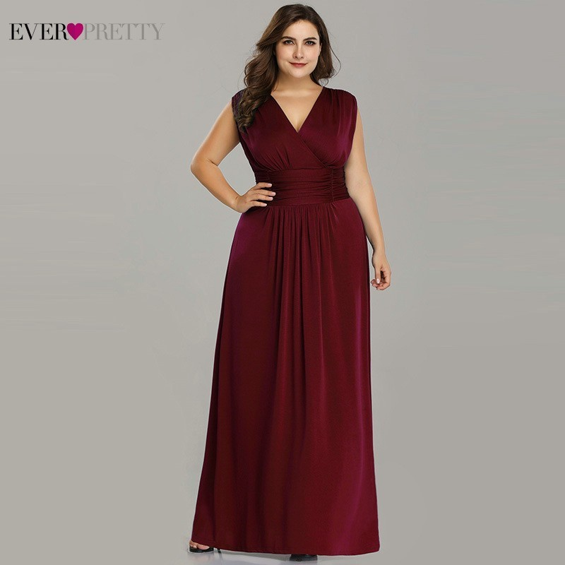 Plus Size Mother Of The Bride Dresses Ever Pretty V-Neck A-Line Chiffon Brides Mother Long Dresses For Weddings Farsali 2019