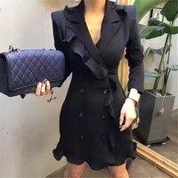 Women Fashion Sexy Blazer Dress Long Women Solid Blazer Office Lady Single Breasted Female Ruffle Blazer
