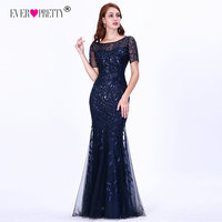 Formal Evening Dresses 2019 Ever Pretty New Mermaid O Neck Short Sleeve Lace Appliques Tulle Long Party Gowns Robe Soiree Sexy