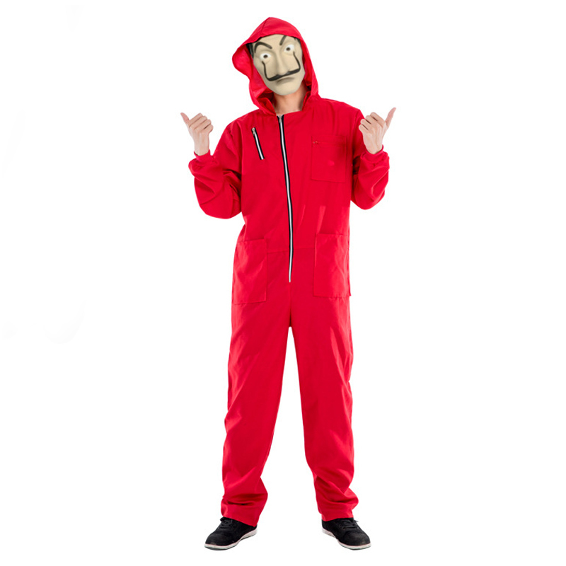 Hot High Quality Adult Mens La Casa De Papel Salvador Dali Cosplay Movie Costume Red Coverall Halloween Costume Mask Included